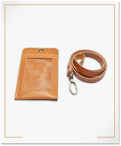 ID Card Material Kulit Sapi, Warna Tan
